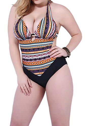 Booty Gal Women's One Piece Backless Monikini Plus Size Tankini Swimsuit(SIZE XXL/BROWN)