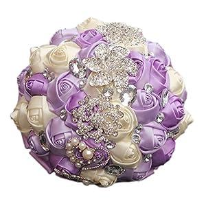 MOJUN Romantic Customization Wedding Bride Holding Bouquet Ribbon Rose Flowers Wedding Bouquet Rhinestone Brooch Decor(Dia:24cm, Lavender+Creamy) 108