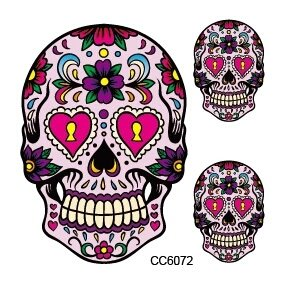 Dio De Los Muertos Costume (DAY OF THE DEAD DIO DE LOS los muertos Sugar skull FACE temporary TATTOO body art metallic flash tattoo body stickers 3d body glam Water transfer size large)