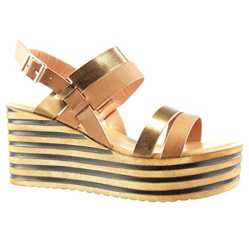 Angkorly - Chaussure Mode Sandale Mule plateforme femme lignes brillant Talon compensé plateforme 8 CM - Camel