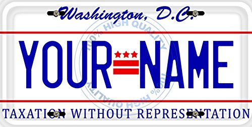 BleuReign(TM) Personalized Custom Name Washington DC State Car Vehicle License Plate Auto Tag (ALL STATES AVAILABLE) District Of Columbia License Plate