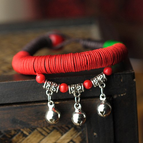 Dandingding Tibetan Bell Red and Green Rope Hand Woven Bracelet