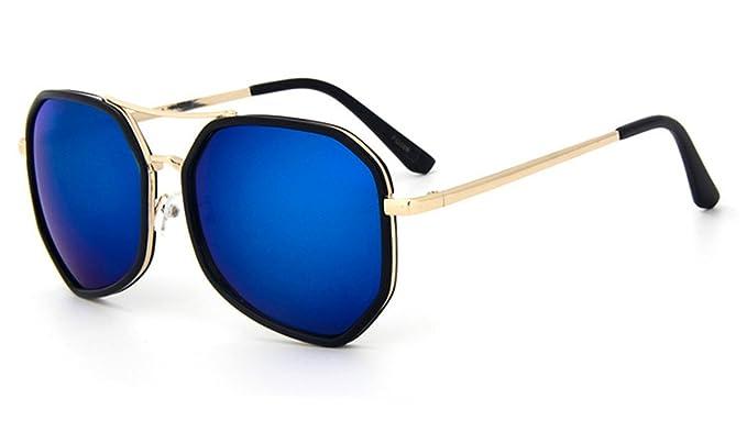 Sonnenbrille multilateral Pilotenbrille groß schwarzer Rand 400UV verspiegelt blau ke4574PvE