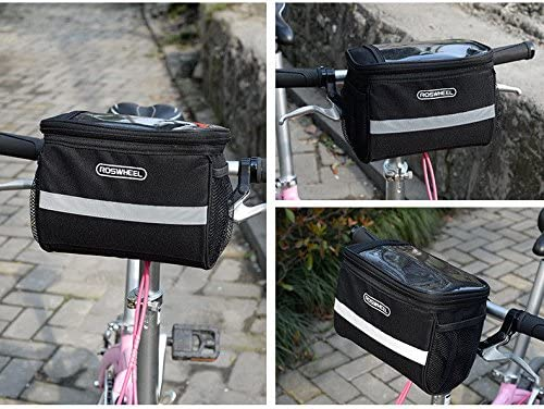 Topshion Bike Bicycle Cycling Front Basket Pannier Handle Rack Storage Bag with Transparent Map Pocket