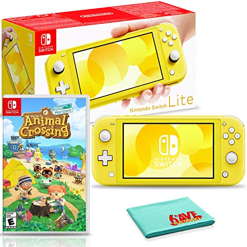 Nintendo Switch Lite (Yellow) Console Bundle with Animal Crossing: New Horizons and 6Ave Cleaning Cloth