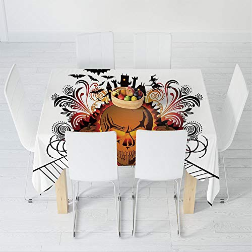 Custom Tablecloth,Halloween Decorations,for Home & Office & Restaurant Table Tea Table,31.5 X 32.5 Inch,Angry Skull Face on Bonfire Spirits of