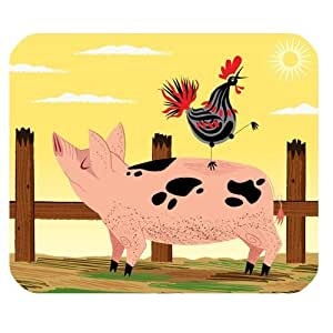 Rooster and Pig Cartoon Design Personalized Rectangle Mouse Pad