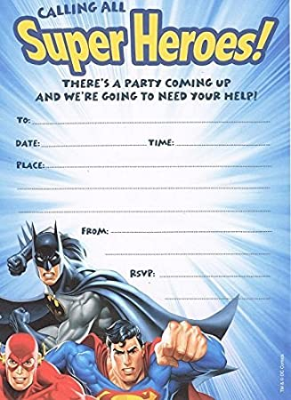 Justice League Tarjeta De Invitación A Fiesta Con Diseño De