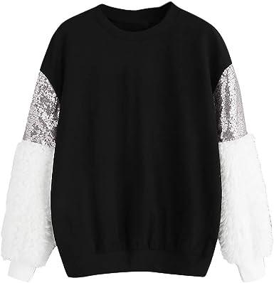 Sudaderas para Mujer Lentejuelas de Felpa Moda Camisa de Manga Larga Cuello en O Top Blusa Suéter Gusspower: Amazon.es: Ropa y accesorios