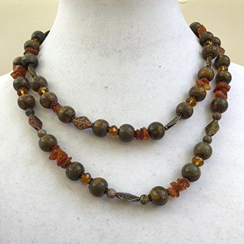 - Double Strand Baltic Amber Jasper Necklace, Natural Brown Yellow, Semiprecious Rustic Stone Jewelry, OOAK Handmade Unique, ALFAdesigns