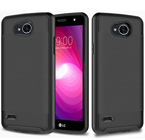 LG X Power 2 Case, LG X Charge Case, LG Fiesta Case, LG Fiesta 2 Case, JATEM Brushed Metal Hybrid Slim Fit Hard Cover with TPU Case + Tempered Glass Screen Protector (Black/Black)