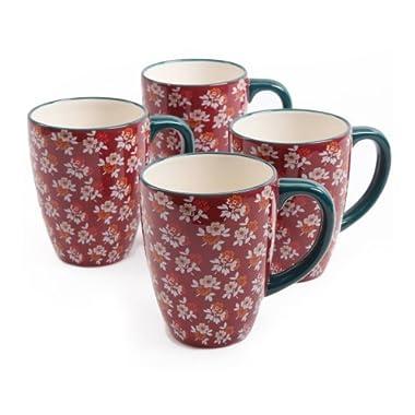 The Pioneer Woman Fall Flowers 26-Ounce Jumbo Latte Mug Set, 4-Pack, 11.42 x 11.42 x 7.48 Inches