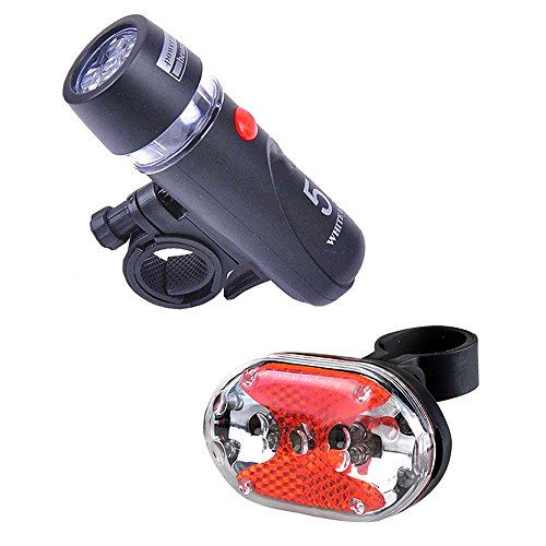 AUHKO Bike Lights Front and Back Set Super Bright 5 LEDs Front Headlight and 9 LEDs Back Rear Flash Light LED Taillight - Compatible with Mountain, Road, Kids & City Bicycles 5 Led Front Light