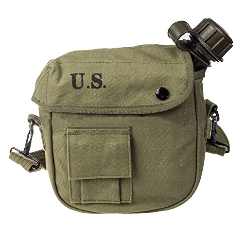 (Ultrafun Military Water Canteen Bladder 2 Quart G.I. Issue with Cover and Strap(Green))