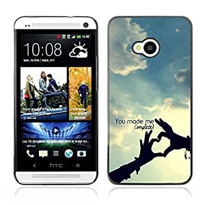 Graphic4You You Make Me Complete Heart Hands love Theme Design Hard Case Cover for HTC One (M7)