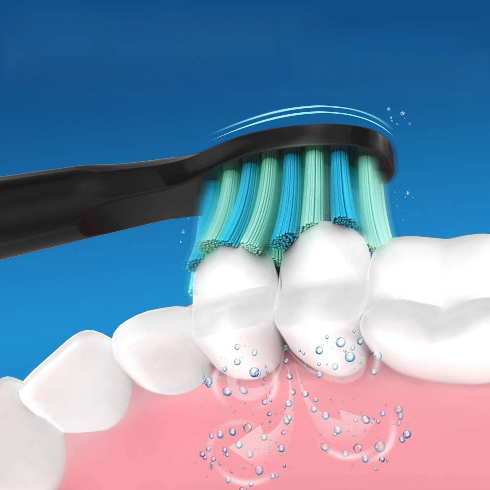 Fairywill Crystal Black Sonic Cepillo de dientes x4 Cerdas con ...