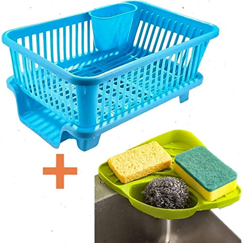 AHYRA Popular Combo Kitchen Sink Organiser & 3 in 1 Kitchen Sink Dish Rack Drainer Drying Rack Washing Basket with Tray for Kitchen, Dish Rack Organizers, Utensils Tools Cutlery (Blue) Price & Reviews