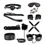 ihreesy 10 Pcs Under Bed Restraint Set, SM Slave Passion Sex Body Bondage Kit Fetish Love Cuffs for Couple Lover Adult (black)