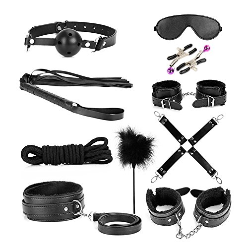 ihreesy 10 Pcs Under Bed Restraint Set, SM Slave Passion Sex Body Bondage Kit Fetish Love Cuffs for Couple Lover Adult (black) by ihreesy