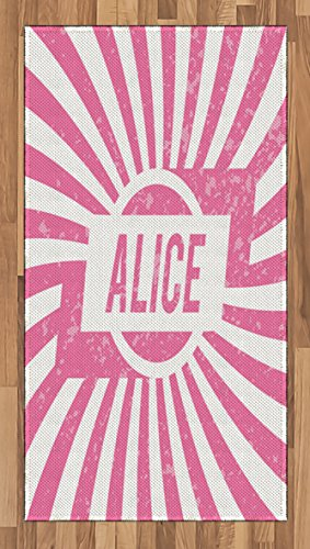Cheap  Ambesonne Alice Area Rug, Grunge Looking Design for Girls Lettering in Pink..