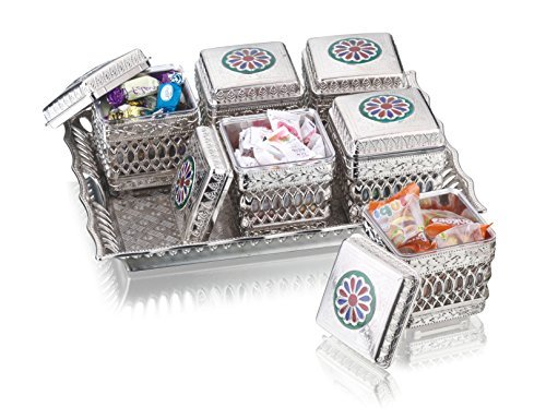 - Sukhson India Silver Finished Containers Set With Tray, Box, Platters For Storing And Serving Dry Fruits, Sweets, Chocolates, Beautiful Meenakari Handicraft Work, Fancy Multipurpose Decorative