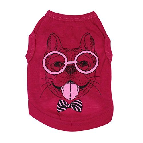 Pocciol Puppy Clothes, Cute And Cool Small Dog Summer Shirt Pet Vest Doggy Tees (Red, S)