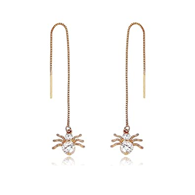 TOP TRENDY Style - Rose Gold Plated Pull Through Threader Long Chain Drop Tassel Cubic Zirconia Dangle Earrings BlD6K3z