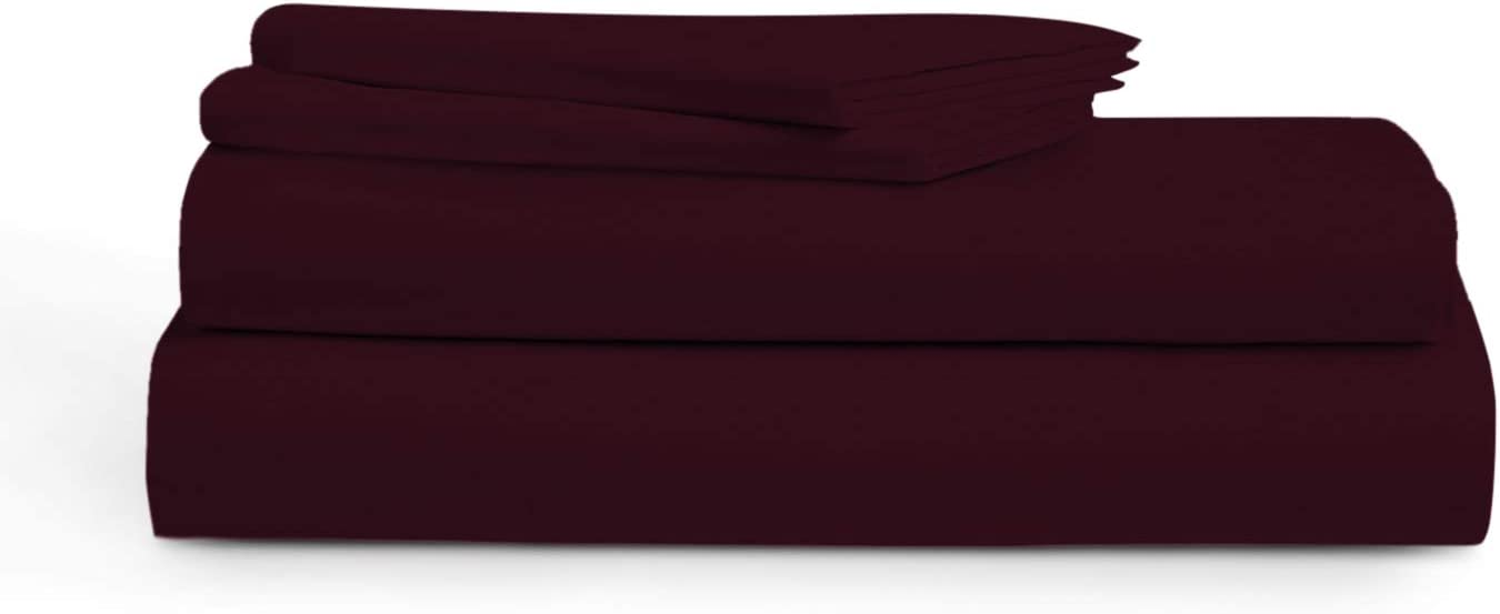 Audley Home 1000 Thread Count 100% Cotton Sheets, Burgundy King Size Sheet Set, 4-Piece Long-Staple Egyptian Cotton Luxury Sheets for Bed, Soft & Silky Sateen Weave, Fits Mattress 16'' Deep Pocket
