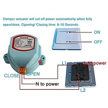 SODIAL 125mm edelstahl luftklappe ventil HVAC elektrische luftkanal ...