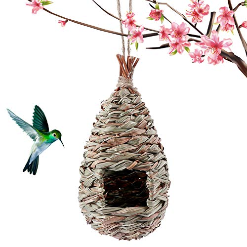 Kimdio Birdhouse for Outside Hanging, Grass Hand Woven Bird Nest, Natural Hummingbird Hut for Outdoor (Drop)