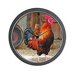CafePress - Crowing Rooster - Unique Decorative 10 Wall Clock