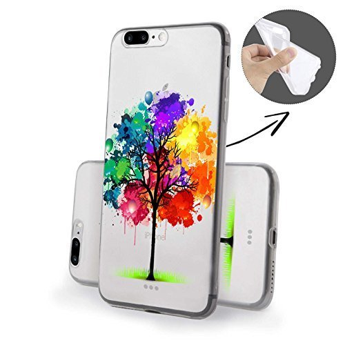 Finoo Iphone 7 Funda Teléfono Móvil Silicona - Hada besos Manzana, Iphone 7 Plus Colorido Árbol