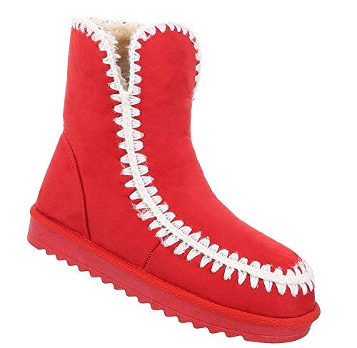 Schuhcity24 Damen Schuhe Stiefeletten Gefütterte Rot