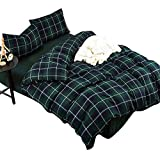 ON SALE Luxury Green Plaid Queen Duvet Cover Set Hotel Quality Cotton Flannel Bedding Set for Boys Girls Lightweight Soft Reversible Grid Bedding Collection 1 Duvet Cover with 2 Pillowcases