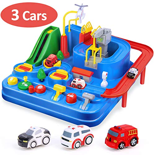CubicFun Race Tracks for Boys Car Adventure Toys for 3 4 5 6 7 8 Year Old Boys Girls, City Rescue Engineering Vehicles Car Track Playsets, Kids Toys Age 3+