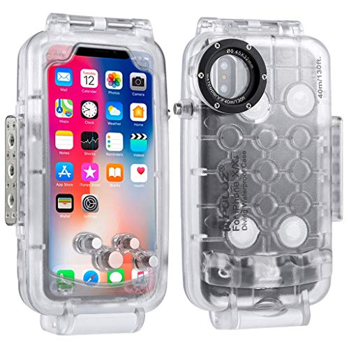 Ikevan 2019 PULUZ For iPhone 8 X/XS 5.8 Inch 40m/130ft Waterproof Diving Housing Phone Protective Case Photo Video Taking Underwater Cover Case (Clear)