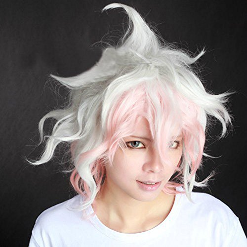 Cfalaicos Dangan-ronpa Nagito Komaeda Short Pink Mix White Curly Wave Costume Cosplay Wig -