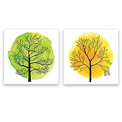 2 Panel Square Canvas Wall Art - Abstract Green and Yellow Tree - Giclee Print Gallery Wrap Modern Home Art Ready to Hang - 12