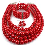 Shineland Elegant Multilayers Simulated Pearl Strand Cluster Collar Bib Choker Costume Jewelry Sets (Red)
