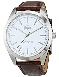 Lacoste Men's 44mm Brown Leather Band Steel Case Quartz White Dial Analog Watch 2010893