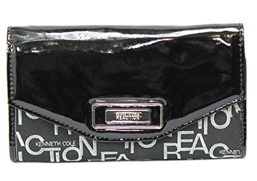 Kenneth Cole Reaction Handbag, Glaze Embroidered Logo Flap Clutch Wallet-Black ()