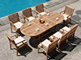 New 9 Pc Luxurious Grade-A Teak Dining Set – 94″ Double Extension Mas Oval Table(Trestle Leg) And 8 Sack Arm Chairs #WHDSSK5 Review
