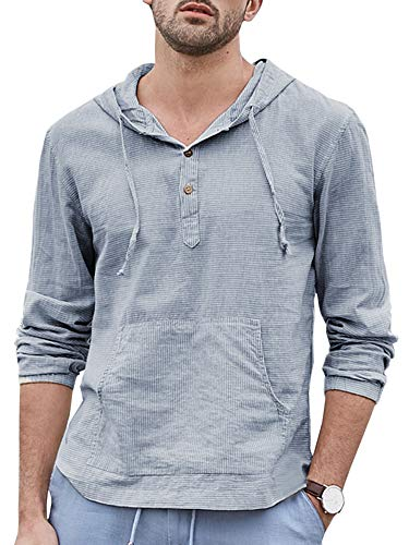Makkrom Mens Linen Hooded Henley Shirts Striped Long Sleeve Lightweight Casual T-Shirt Tops with Kangaroo Pocket Sky Blue