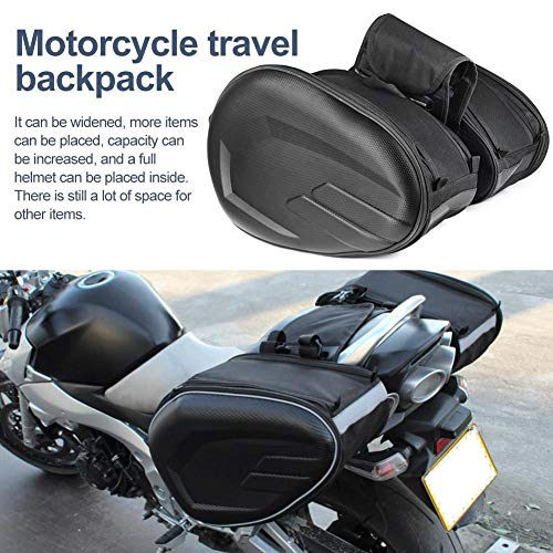 Motorcycle Leather Luggage Bag,Saddle Bag Carbon Fiber Case Waterproof Motorbike Box Side Package Locomotive Bag Long-Distance Travel Large Capacity Tail Package Tools Box