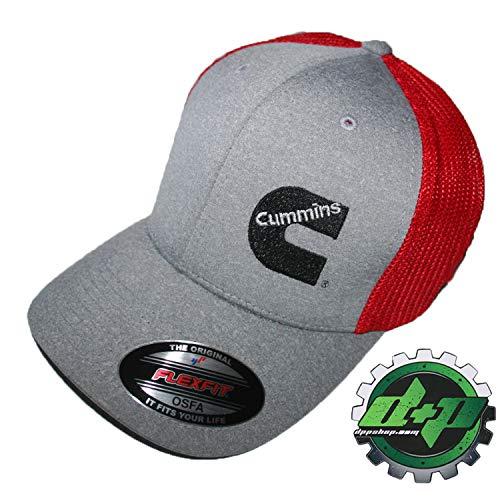 - Cummins Flexfit Fitted hat OSFA Gray red mesh Back Dodge Diesel