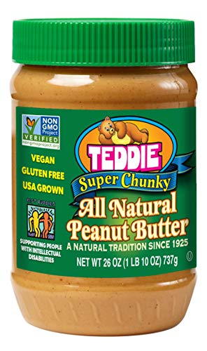 - Teddie All Natural Peanut Butter, Super Chunky, 26-Ounce Jar (Pack of 3)