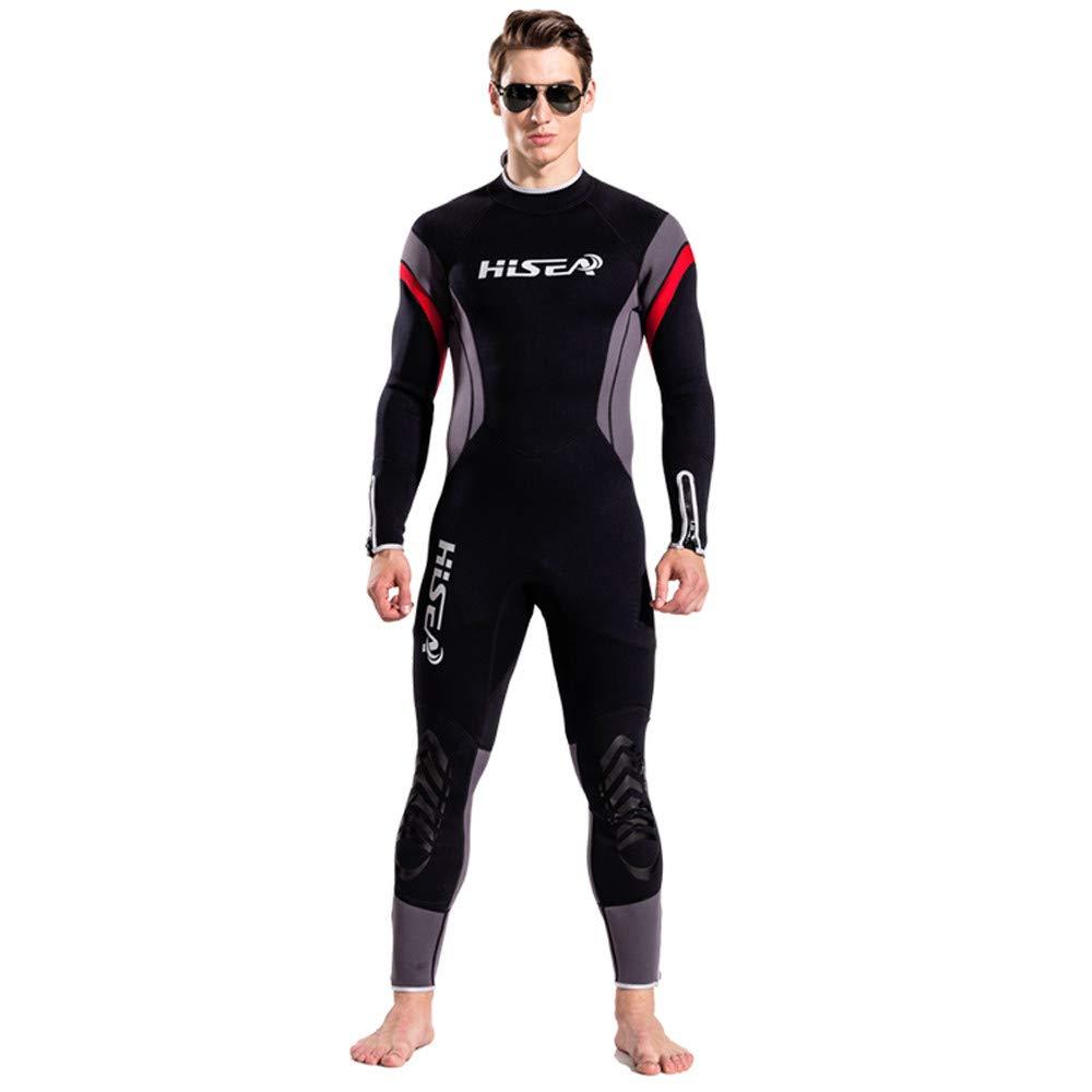Seaintheson Men's Premium 2.5 mm Neoprene Wetsuit Full Body Diving Suit Back Zipper One Piece Swimsuit Swimming Surf Snorkeling (Black, L)