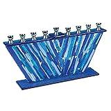Hanukkah Menorah Blue Glass Stripes Fused Together