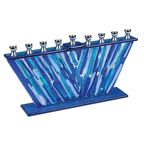 Hanukkah Menorah Blue Glass Stripes Fused - Fused Menorah Glass