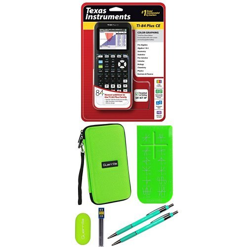 Texas Instruments TI-84 Plus CE Graphing Calculator With Travel Case, And Essential Graphing Accessory Bundle, Green by Texas Instruments